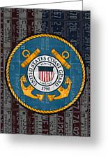United States Coast Guard Logo Recycled Vintage License Plate Art Greeting Card