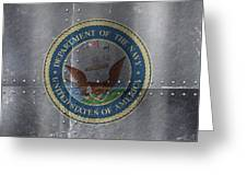 United States Navy Logo On Riveted Steel Boat Side Greeting Card
