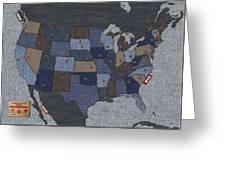 United States Of Denim Greeting Card
