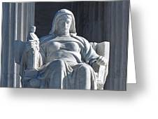 United States Supreme Court, The Contemplation Of Justice Statue, Washington, Dc 3 Greeting Card