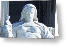 United States Supreme Court, The Contemplation Of Justice Statue, Washington, Dc 4 Greeting Card