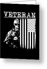 United States Veteran Flag And Soldier Greeting Card
