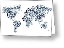 University Of British Colombia Colors Swirl Map Of The World Atl Greeting Card