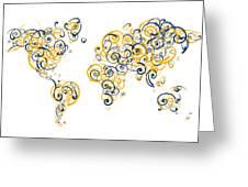 University Of California Berkeley Colors Swirl Map Of The World  Greeting Card
