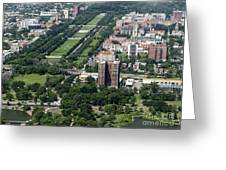 University Of Chicago Booth School Of Business And Midway Plaisance Park Aerial Photo Greeting Card