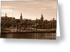 University Of Tampa With River - Sepia Greeting Card