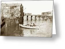 Unloading Small Fishing Boat At Fisherman's Wharf  1920 Greeting Card