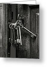 Unlocked - Keys And Opened Door Greeting Card