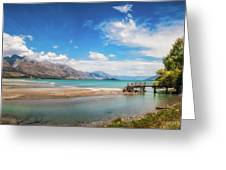 Unspoiled Alpine Scenery In Kinloch Wharf, New Zealand Greeting Card