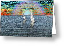 Unto The Sunset We Sail My Love Greeting Card