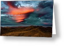 Unusual Clouds Catch Sunset Greeting Card
