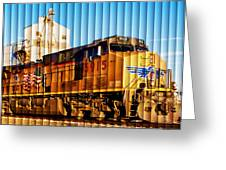 Up 5915 At Track Speed Greeting Card