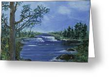 Landscape With Waterfall Greeting Card