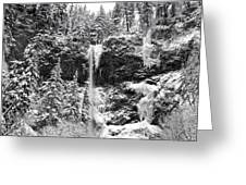 Upper Falls In Snow's Cover Greeting Card