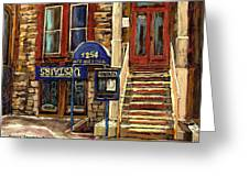 Upstairs Jazz Bar And Grill Montreal Greeting Card by Carole Spandau