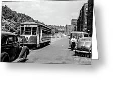 Uptown Trolley Near 193rd Street Greeting Card