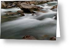 Upturned Rock In A Flowing Stream Greeting Card