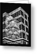 Urban Abstract - Mirrored High-rise Building In Black And White Greeting Card