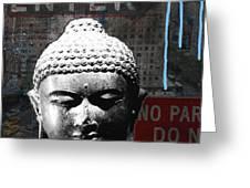 Urban Buddha 4- Art By Linda Woods Greeting Card