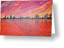 Urban Cityscapes In Twilight Greeting Card