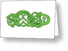 Urnes Snake Extended Stomach Retro Greeting Card
