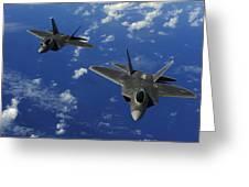 U.s. Air Force F-22 Raptors In Flight Greeting Card