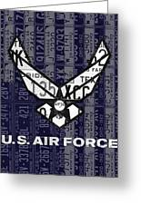 Us Air Force Logo Recycled Vintage License Plate Art Greeting Card
