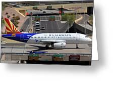 Us Airways Airbus A319-132 N826aw Arizona At Phoenix Sky Harbor March 16 2011 Greeting Card