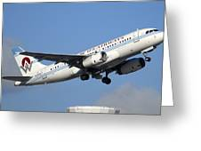 Us Airways Airbus A319-132 N828aw Phoenix Sky Harbor December 23 2010 Greeting Card