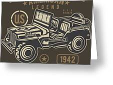 Us American Amry Jeep Greeting Card
