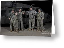 U.s. Army Crew Chiefs Pose In Front Greeting Card