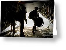 U.s. Army Green Berets Wait To Jump Greeting Card