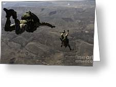 U.s. Army Soldiers Conduct A Halo Jump Greeting Card
