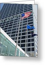 Us Bank With Flags Greeting Card