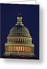 U.s. Capitol At Night Greeting Card