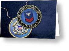 U.s. Coast Guard Petty Officer Second Class - Uscg Po2 Rank Insignia Over Blue Velvet Greeting Card