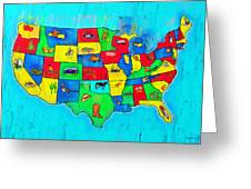 Us Map With Theme  - Free Style -  - Pa Greeting Card