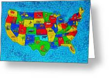 Us Map With Theme  - Special Finishing -  - Pa Greeting Card