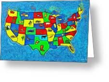 Us Map With Theme  - Van Gogh Style -  - Da Greeting Card