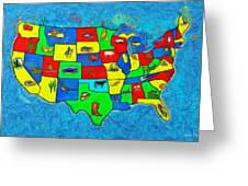 Us Map With Theme  - Van Gogh Style -  - Pa Greeting Card