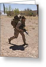U.s. Marine Runs To The Uh-60 Black Greeting Card