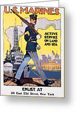 U.s. Marines Active Service On Land And Sea Greeting Card
