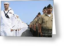 U.s. Marines And Sailors Stand Greeting Card
