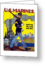 U.s. Marines - Service On Land And Sea Greeting Card