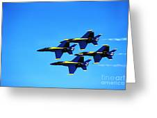 Us Navy Blue Angels Flight Demonstration Team In Fa 18 Hornets Greeting Card