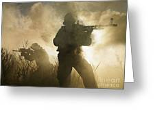 U.s. Navy Seals During A Combat Scene Greeting Card