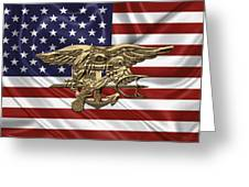 U.s. Navy Seals Trident Over U.s. Flag Greeting Card