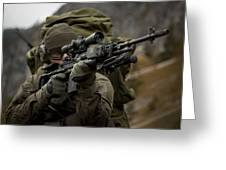 U.s. Special Forces Soldier Armed Greeting Card by Tom Weber