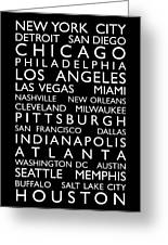 Usa Cities Bus Roll Greeting Card