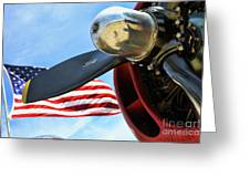 Usa Flag Bomber Wwii  Greeting Card